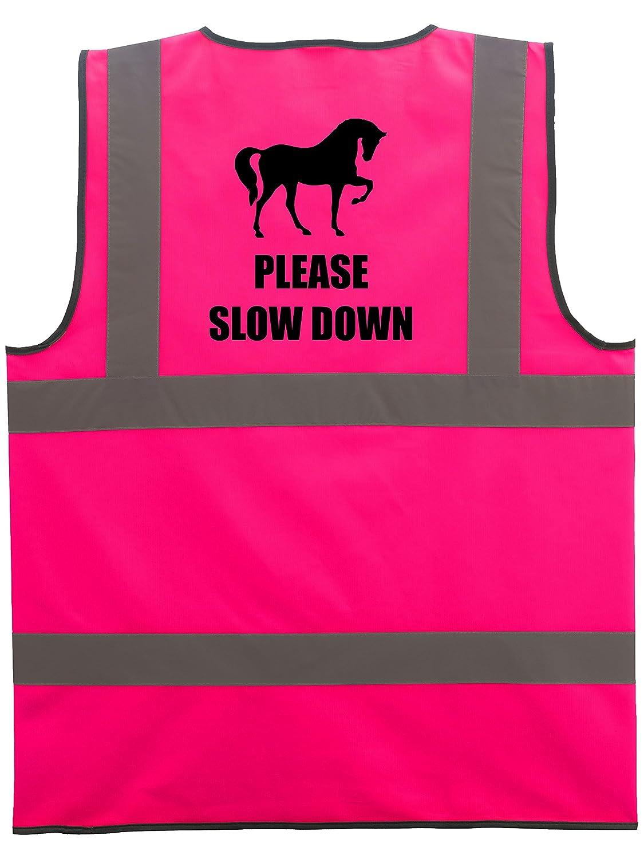 Please Slow Down Hi Vis Vest Reflective Safety High Viz Equine Safe Waistcoat safer for Horse and Rider Equestrian
