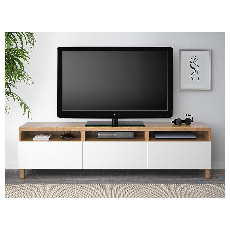 Ikea Besta Tv Bank Mit Schubladen Eiche Effekt Amazon De