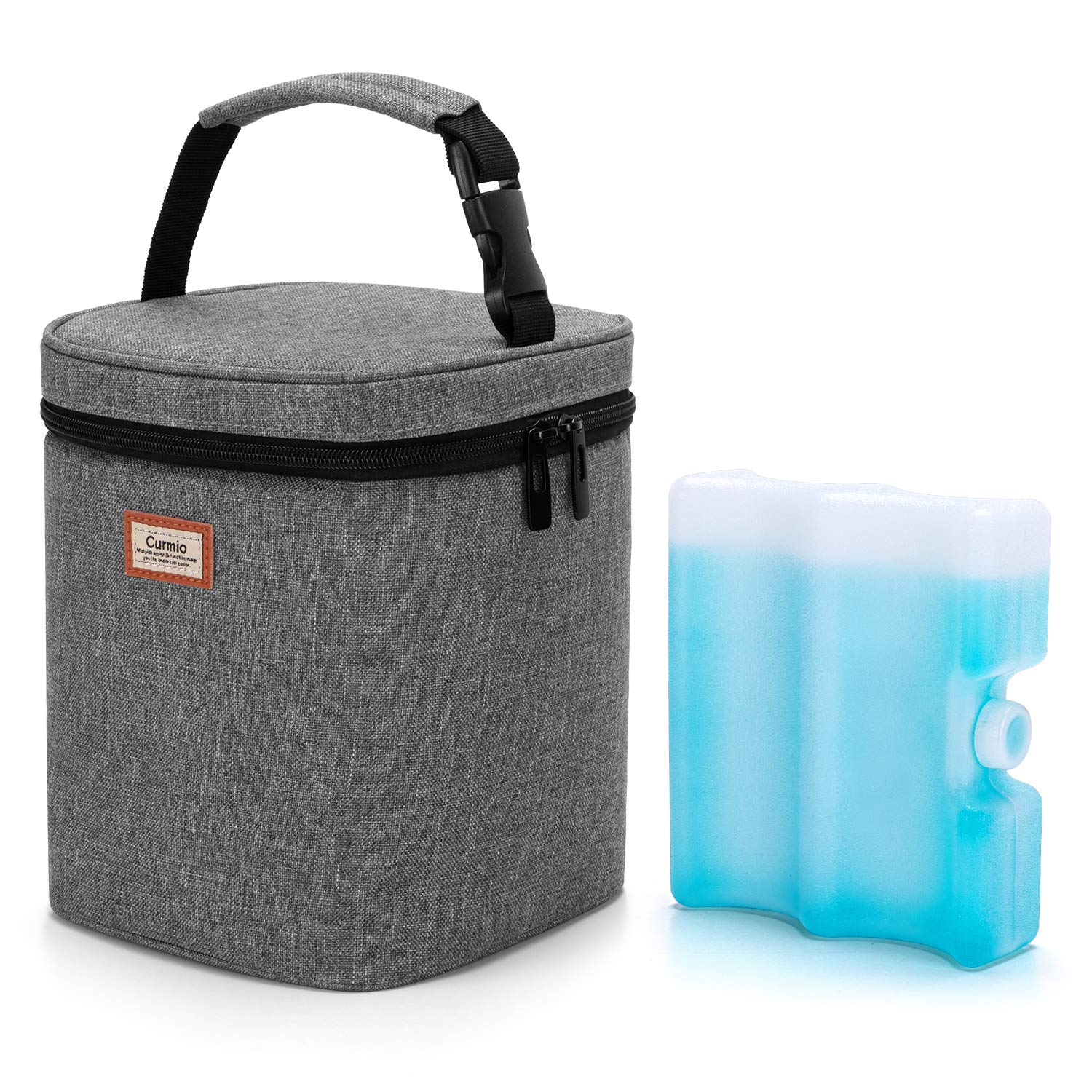 CURMIO Baby Bottles Cooler Bag with Ice Pack for 4 Bottles, up to 9 oz/270ml, Insulated Breastmilk Cooler and Ice Pack for Daycare Travel Nursing Mom, Grey