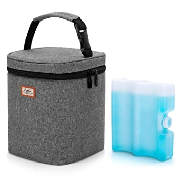 Baby Bottle Cooler Bag Great for Nursing Mom Daycare Grey BABEYER Breast Milk Cooler Bag with Ice Pack Fits 4 Large Baby Bottles Up to 5 Ounce