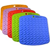 Set of (5) Aarcho Kitchen - Premium Flexible Silicone Pot Holders/Trivets, Durable, Non-slip Pads, Multiple Colors, Garlic Peelers, Spoon Rests, Multiple Uses (Red, Green, Orange, Blue, Purple)