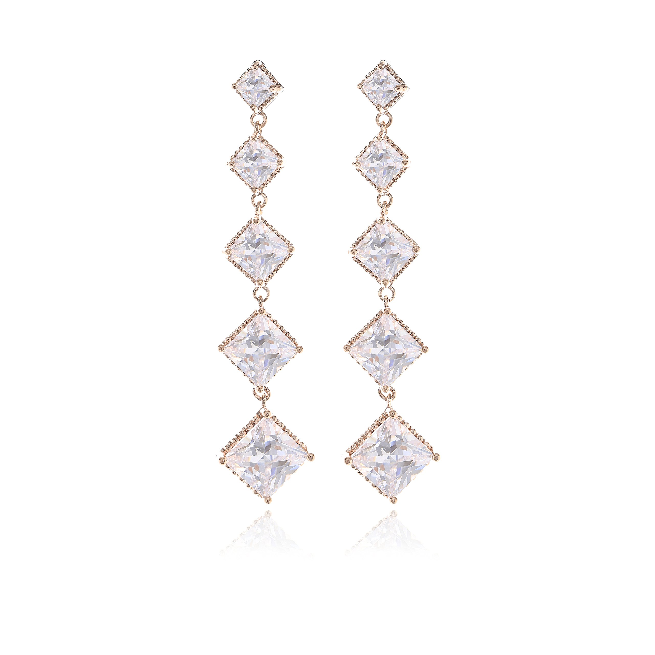 Elegant Square Shape Dangle Earrings - 18K Rose Gold Crystal Cubic Zirconia Stud Earrings for Party, Shopping, Travel Best Gifts