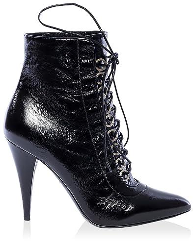 7195bc45fe1 Saint Laurent Women's Laceup Point Toe Ankle Boot, Black, 39.5 M EU/9.5