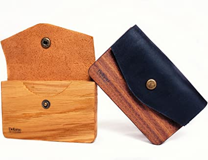 Business Credit Card Case Wooden Handmade Card Holder Design Front Pocket Money Eco Craft Leather Wallet for Women and Men at Amazon Womens Clothing store: