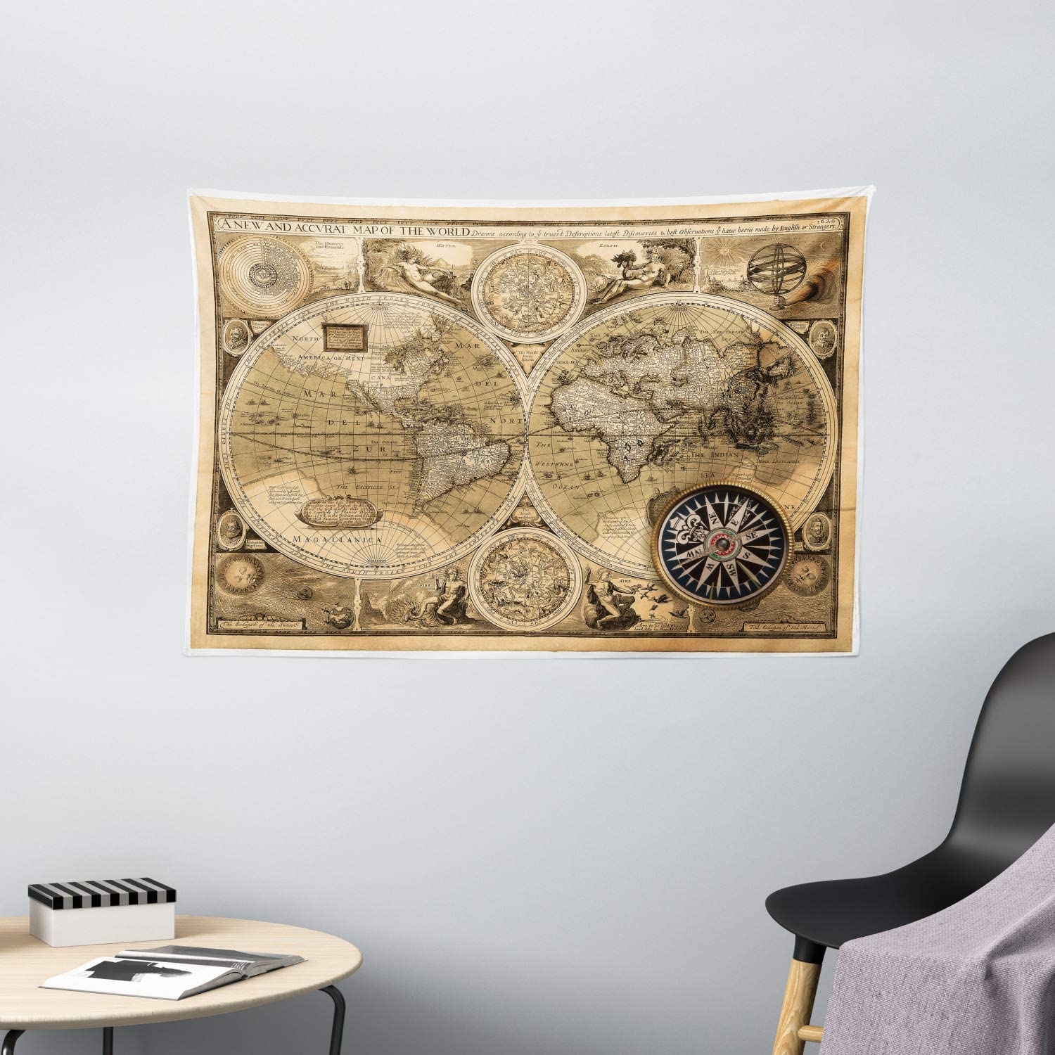 "Ambesonne Wanderlust Tapestry, Old Map 1626 a New and Accvrat Map of World Historical Manuscript, Wide Wall Hanging for Bedroom Living Room Dorm, 60"" X 40"", Pale Yellow"
