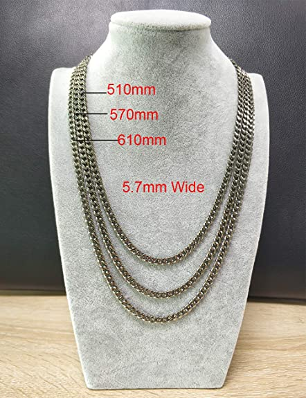 TGNEL Mens Womens Titanium Silver Rolo Cable Chain Necklace Non Tarnish 22-24 2.3MM, 3MM, 3.5MM Wide