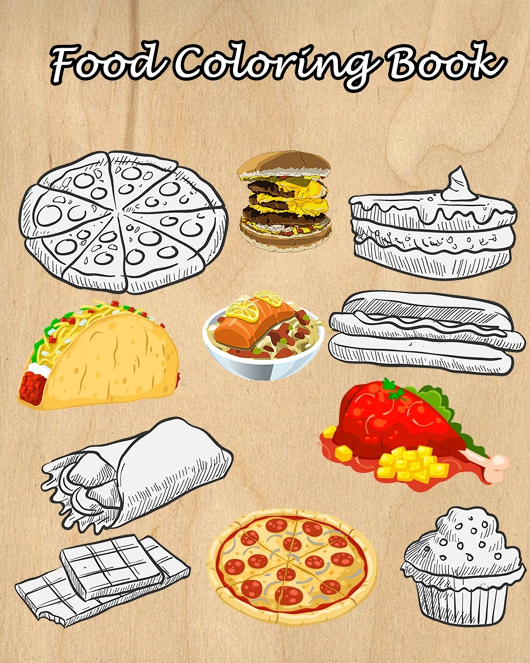 Buy Food Coloring Book Easy Coloring Pages For Little Hands With
