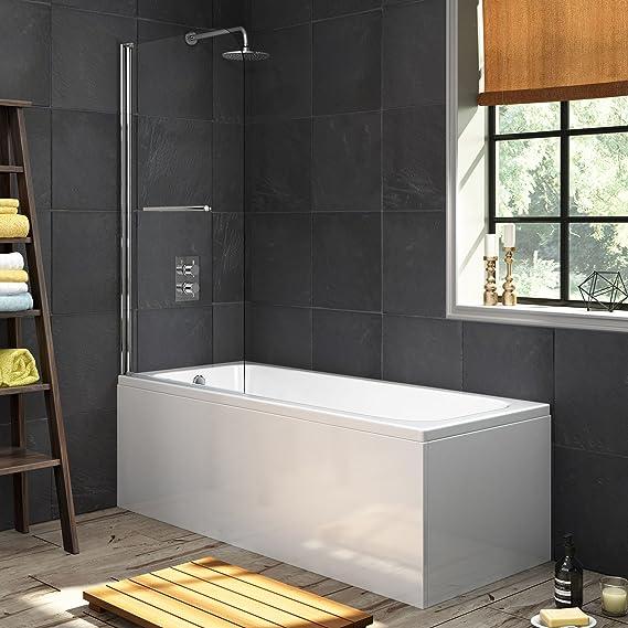 1700 mm solo bañera moderna bañera recta + 800 mm mampara de ducha con barra: iBathUK: Amazon.es: Hogar