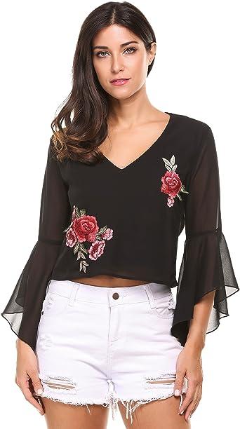 Zeagoo Mujer Camiseta Blusa de Gasa Cuello en V de Bordado Flores: Amazon.es: Ropa y accesorios