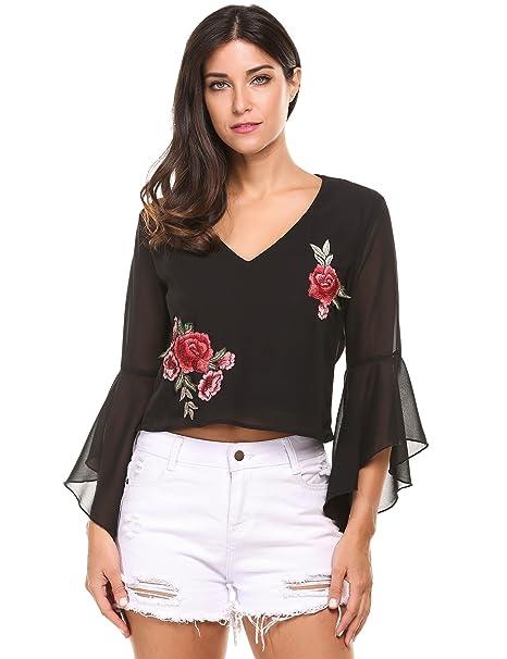 Zeagoo Mujer Camiseta Blusa de Gasa Cuello en V de Bordado Flores Espalda Descubierta