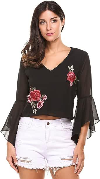 Zeagoo Mujer Camiseta Blusa de Gasa Cuello en V de Bordado Flores ...