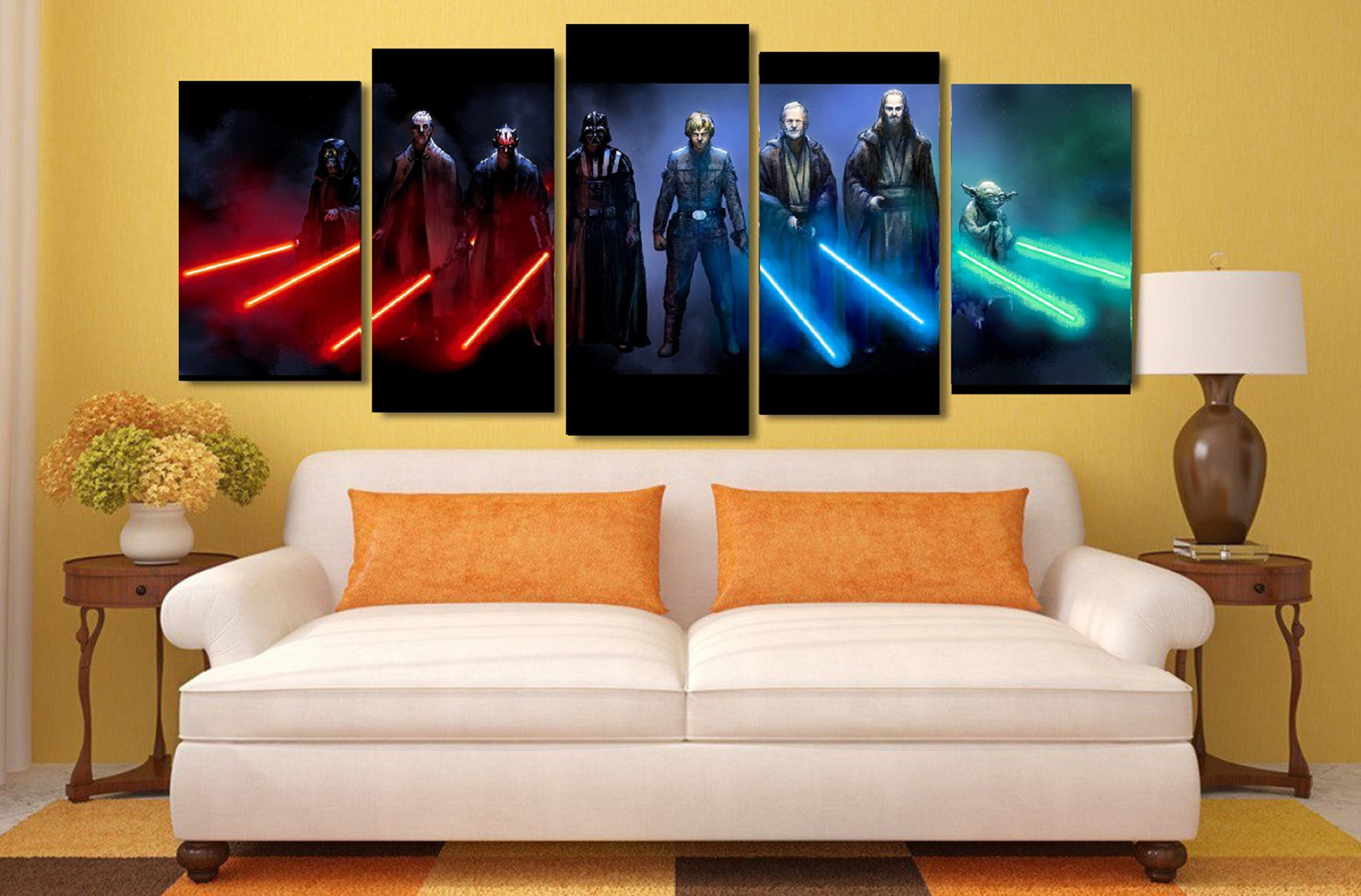 Star Wars lightsabers design modular pictures painting wall art decor home room decoration canvas printed. Gift idea for men and women. (Small)