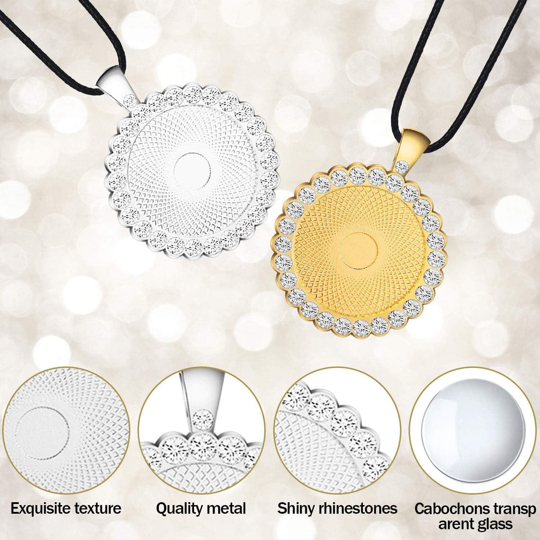 40 Pieces Rhinestone Bezel Pendant Trays Kit Include 10 Bezel Pendant Trays10 Cabochons Glass 20 Jewelry Accessories for Photo Necklace Jewelry Keychain Craft
