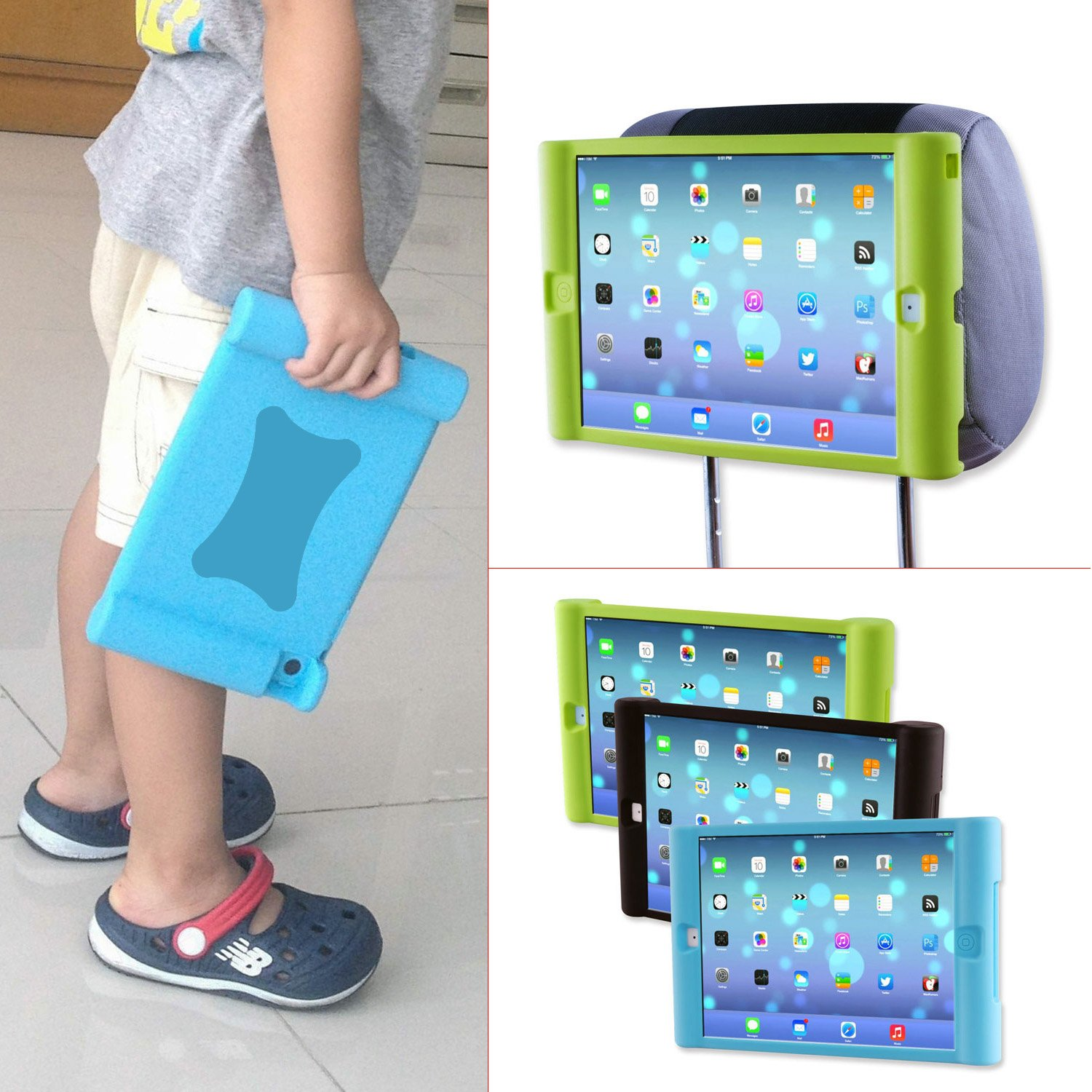 TFY Kids Car Headrest Mount Holder for iPad Air (iPad 5 5th Generation) - Detachable Lightweight Shockproof Anti-slip Soft Silicone Handle Case - Blue (Do NOT fit iPad Air 2)