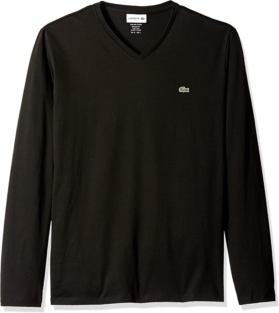 46522db662 Men's Long Sleeve Jersey Pima V-Neck T-Shirt