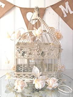 Vintage Style Decorative Bird Cage Wedding Table Centerpiece Birdcage Cream
