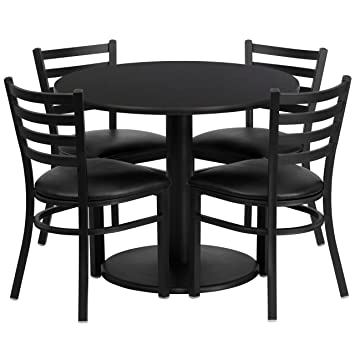 Amazon.com - 36\'\' Round Black Laminate Table Set with 4 Ladder ...