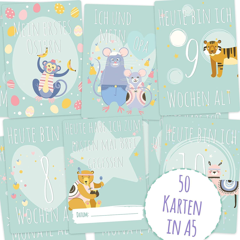 Tarjetas de Hito de Mammacita (50 unidades, A5) para bebés para el primer año de vida – para niños y niñas – Ideal como regalo de nacimiento, fiesta de bebé para futuros padres – Tarjetas Milestone