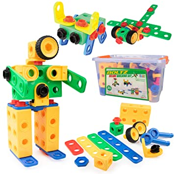 645bb1c4 STEM Building Toys for Boys or Girls - 163pk Educational Building Gear Toys  for Kids, Montessori Learning Toys for Toddlers Age 3 4 5 6 7 8 Yrs Up