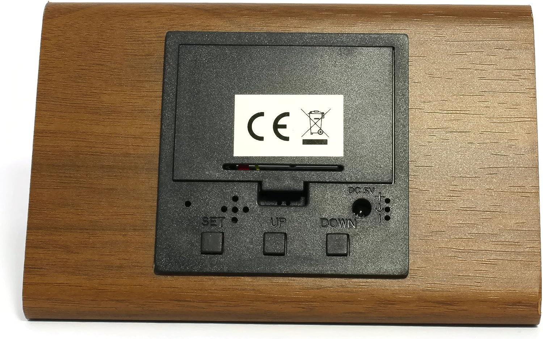 Atlanta R/éveil Digitale LED Affichage Lumineux Horloge de Table Brun Marron Apparence de Bois Ch/êne Design Quartz 1135-20