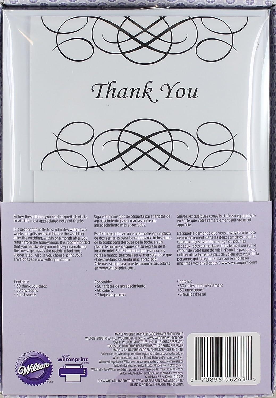 Amazon Wilton Black White Calligraphy Thank You Note Cards