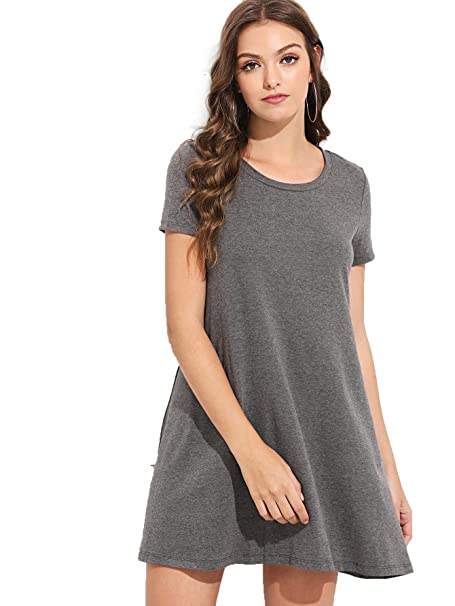 88d503356d Romwe Women s Short Sleeve Shirt Casual Loose Swing Dress Gray S  Amazon.ca   Clothing   Accessories