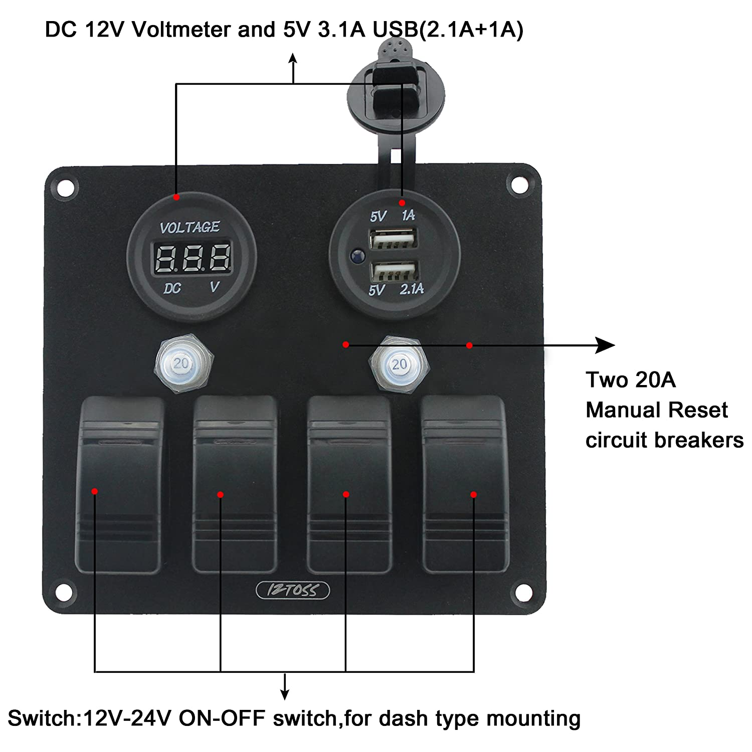 Iztoss 4 Gang Aluminium 3pin Rocker Toggle Switch Panel For A Way Wiring Diagram Dc With Waterproof Circuit Breaker 12v Voltmeter 31a Usb And Installation Kits Marine