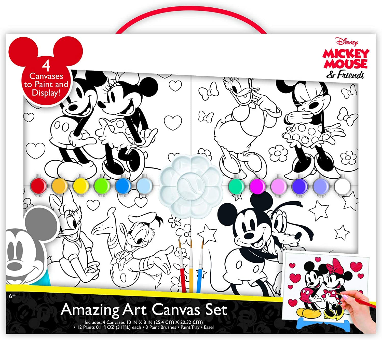 Disney Mickey and Minnie Mouse Paint Set for Kids Craft Kit Canvas Painting
