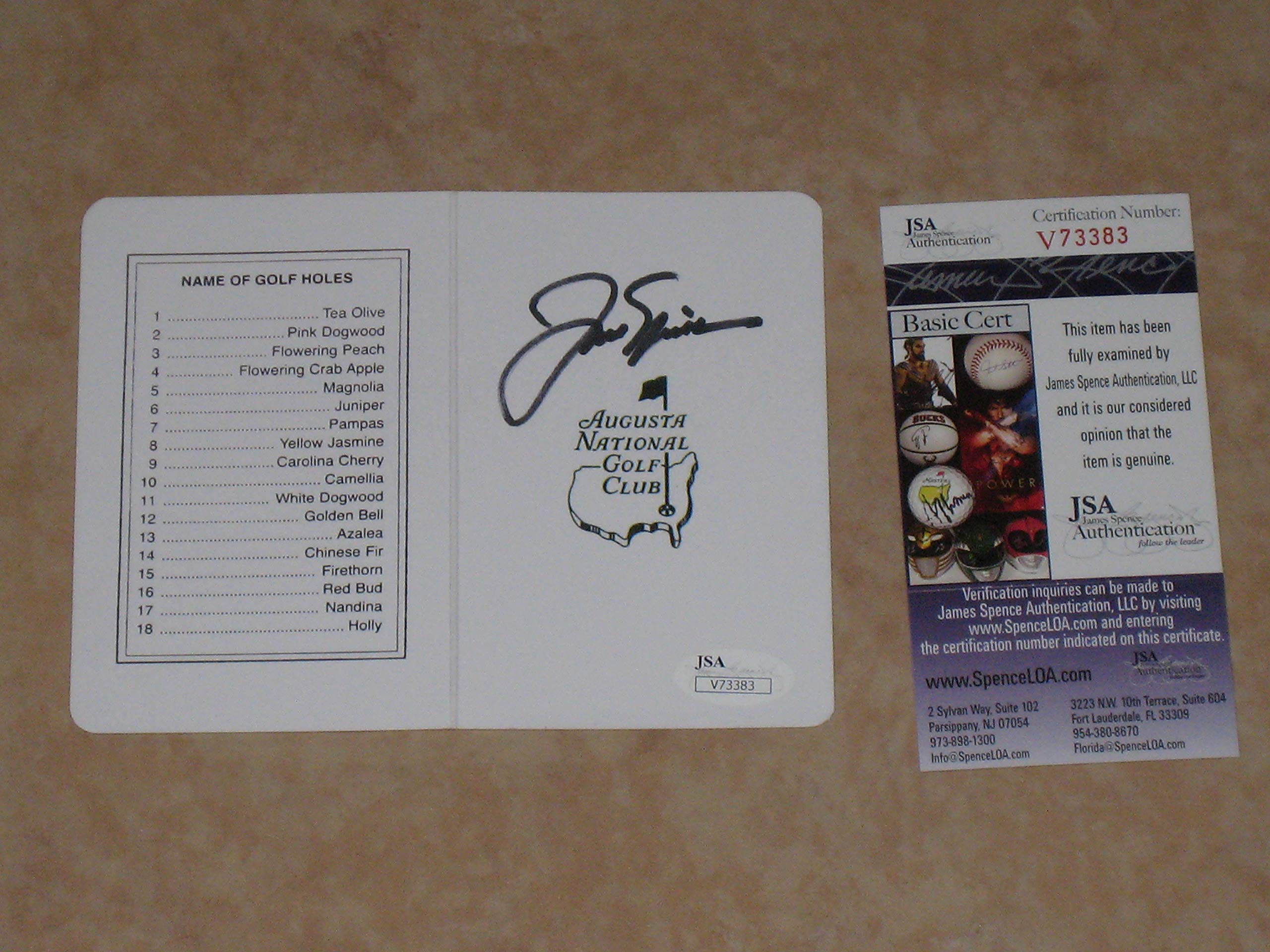 Jack Nicklaus PGA signed Autographed Masters Scorecard Augusta JSA COA