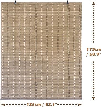 Solagua 6 Modelos 14 Medidas de estores de bambú Cortina de Madera persiana Enrollable (135 x 175 cm, Marrón): Amazon.es: Hogar