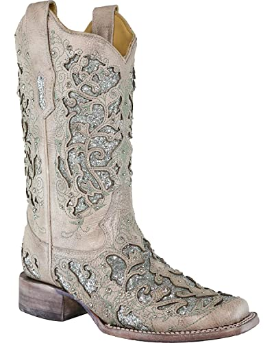 5f5f181039f CORRAL Women's Glitter and Crystals Cowgirl Boot Square Toe - A3435