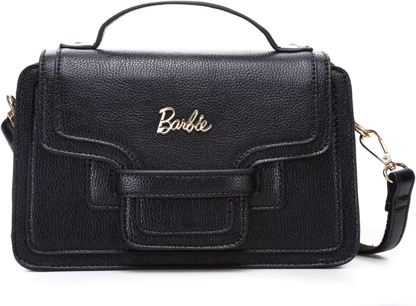 Barbie Girls Handbag Black Leather Shoulder Bag Cross-Body Bag for Ladies BBFB339.01A