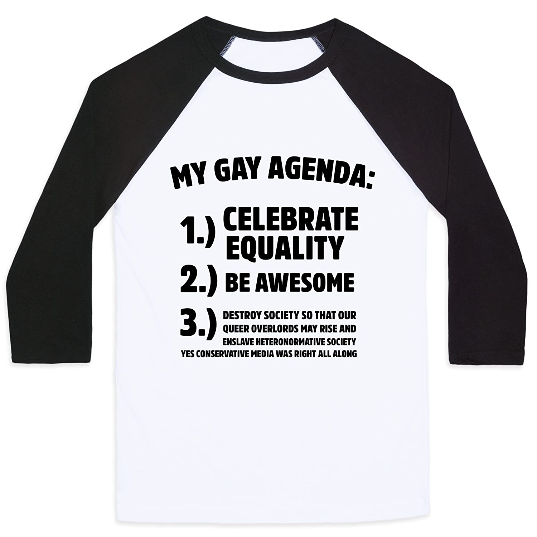Amazon.com: LookHUMAN My Gay Agenda Mens/Unisex Baseball Tee ...