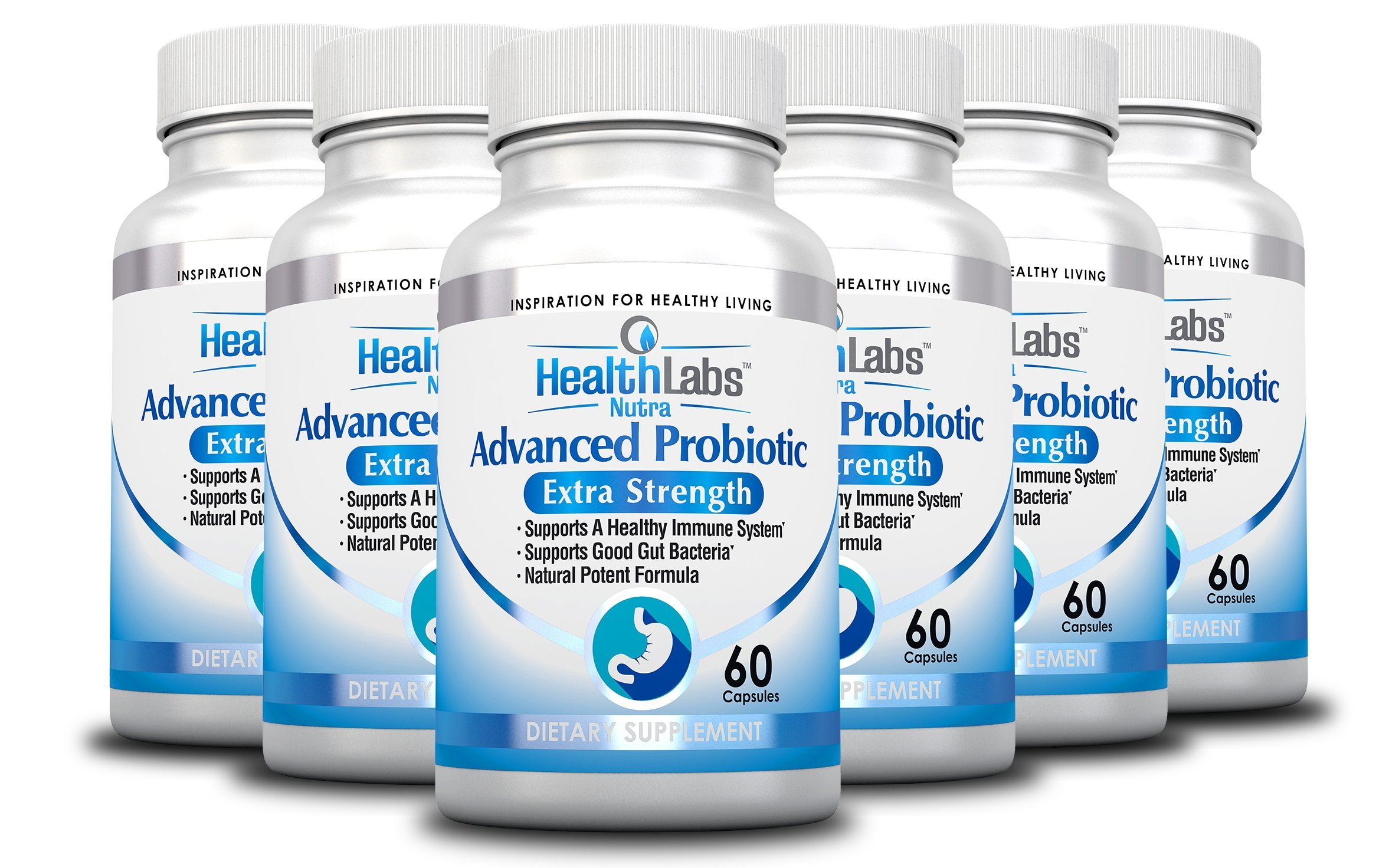 Advanced Probiotics 6-Month Supply Extra Strength Supplement for a Healthy Immune System, Restores Good Bacteria, Relieves Leaky Gut, Nausea, Indigestion, Irritable Bowel Syndrome (Pack of 6) by Health Labs Nutra