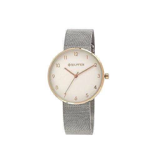 Reloj Bilyfer para Mujer con Correa Plateada y Pantalla en Blanco 3P565-P: Amazon.es: Relojes