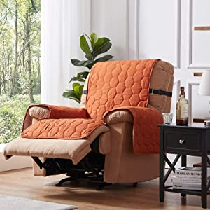 100% Waterproof Rust Recliner Chair Slipcover Furniture Protector Honeycomb Quilted Recliner Couch Covers with Adjustable Elastic Strap and Non-Slip Backing