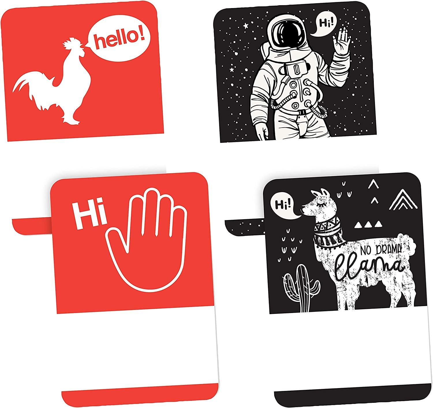 Avery Premium Ice Breaker Name Tags, Astronaut, Llama, Rooster, Wave, No Lift No Curl, 36 Handwriteable Name Stickers