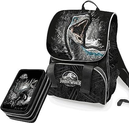 Jurassic World Schoolpack estuche 3 cremallera completo de papelería + Mochila extensible 3 bisagras – Producto oficial: Amazon.es: Oficina y papelería