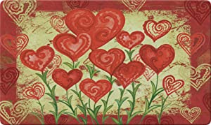 Toland Home Garden Garden Hearts 18 x 30 Inch Decorative Floor Mat Valentine Red Heart Flower Doormat - 800048