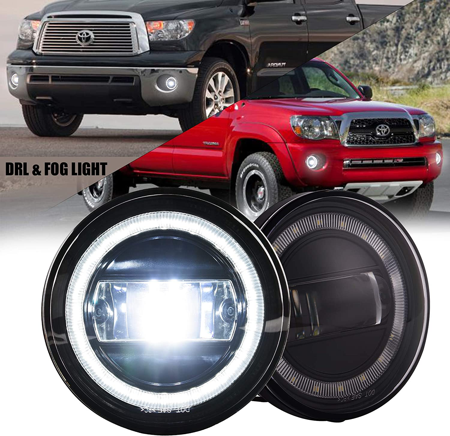 Plug /& Play Fog Lights LED 15W for Tundra 2007-2013//2008-2015 Sequoia//Tacoma 2005-2011//2004-2006 Solara Front Bumper LED Lights