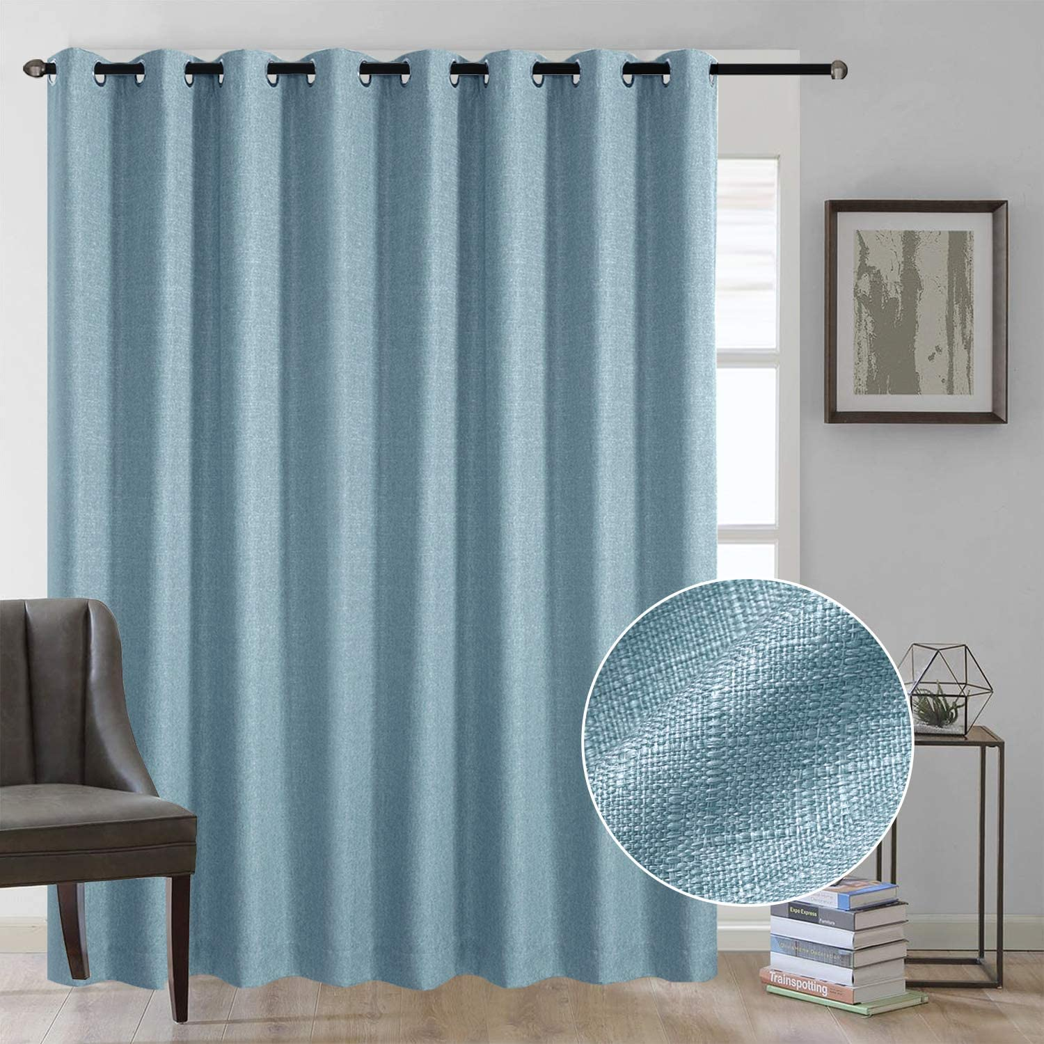 Rose Home Fashion Linen Textured Do Curtains Be super welcome Patio Max 68% OFF Door Sliding
