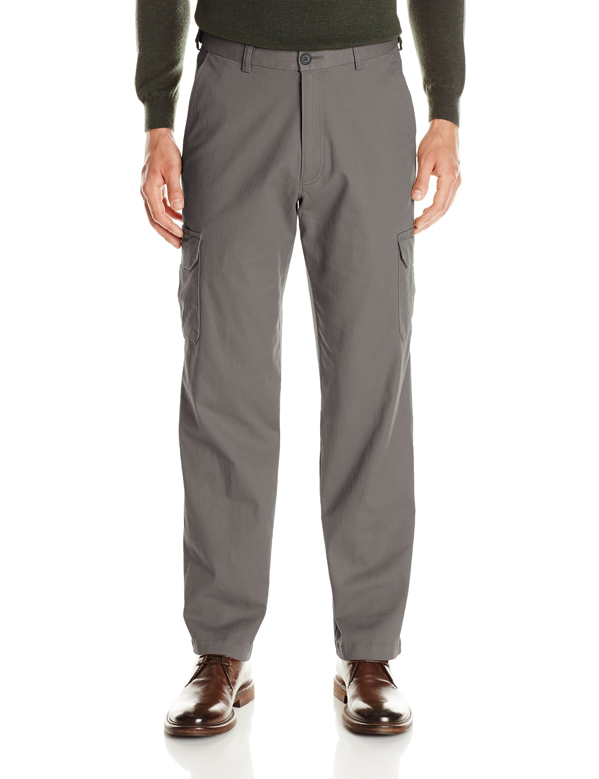 Haggar Men's Stretch Comfort Cargo Expandable Waist Classic Fit Plain Front Pant, Medium Grey, 40x32