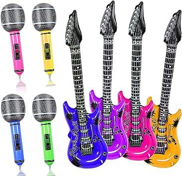 Yojoloin 8 UNIDS Inflables Guitarra Micrófono Instrumentos Musicales Accesorios para Fiesta Suministros Favores de Fiesta Globos Random Color (8 PCS): Amazon.es: Juguetes y juegos