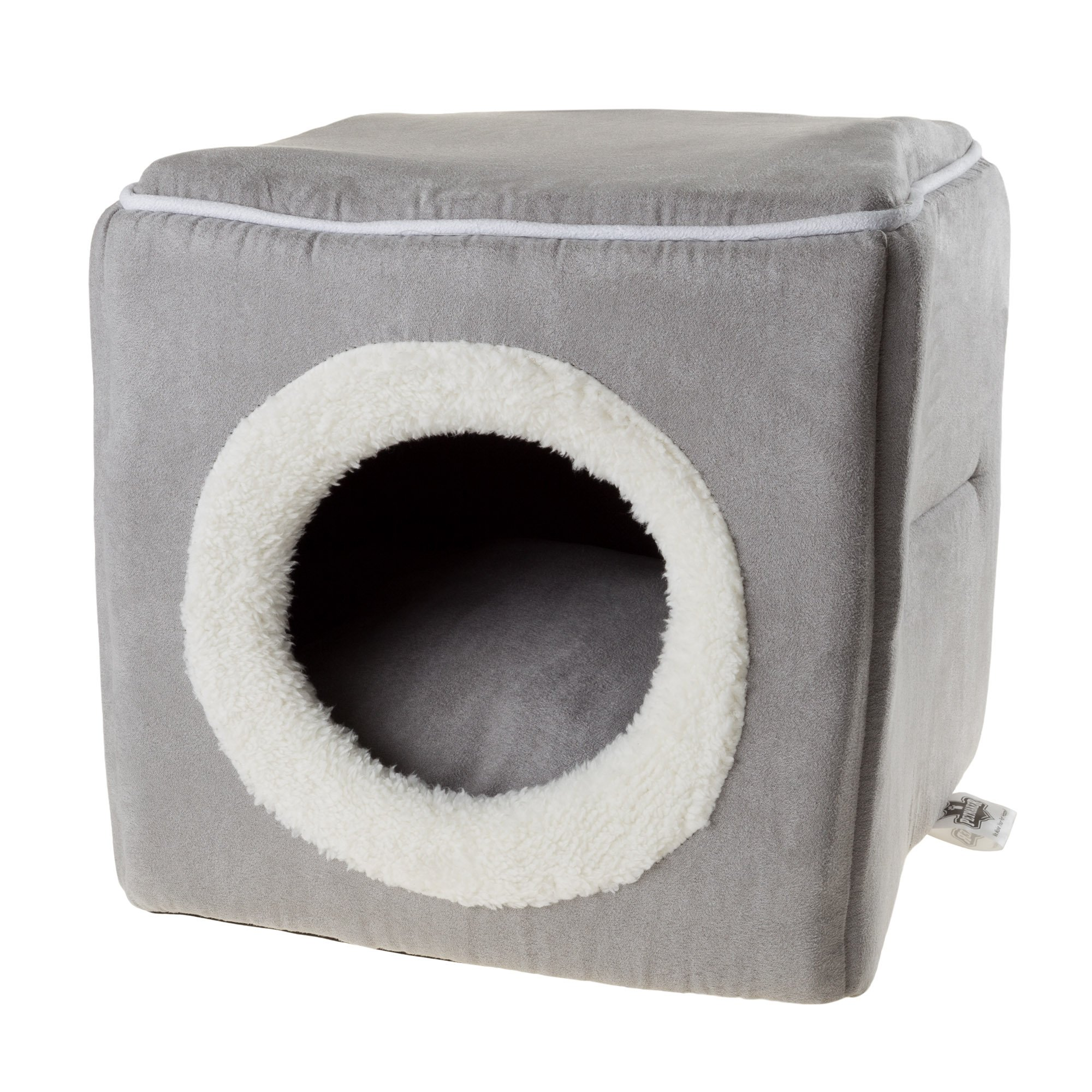 PETMAKER Cat Pet Bed, Cave- Soft Indoor Enclosed Covered Cavern/House for Cats, Kittens, and Small Pets with Removable Cushion Pad by (Grey)