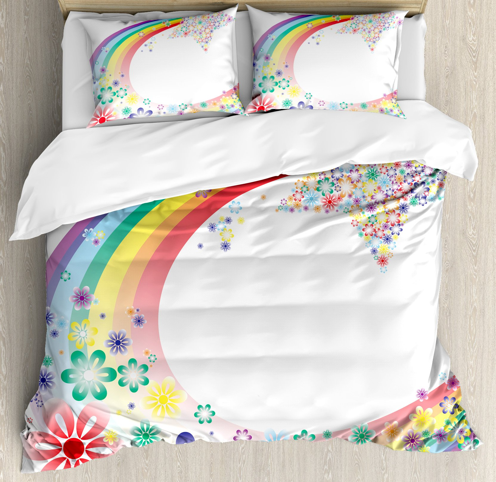 Abstract Home Decor Queen Size Duvet Cover Set by Ambesonne, Abstract Nature Spring Floral Rainbow Stars Flowers Cheerful Fun Design, Decorative 3 Piece Bedding Set with 2 Pillow Shams