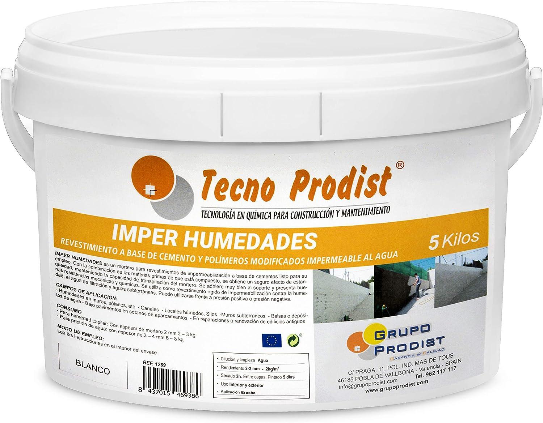 IMPER HUMEDADES de Tecno Prodist - (5 Kg) Mortero para revestimiento de Impermeabilización. Tratamiento humedades muros, sótanos, etc. Impermeable al agua, fácil de usar