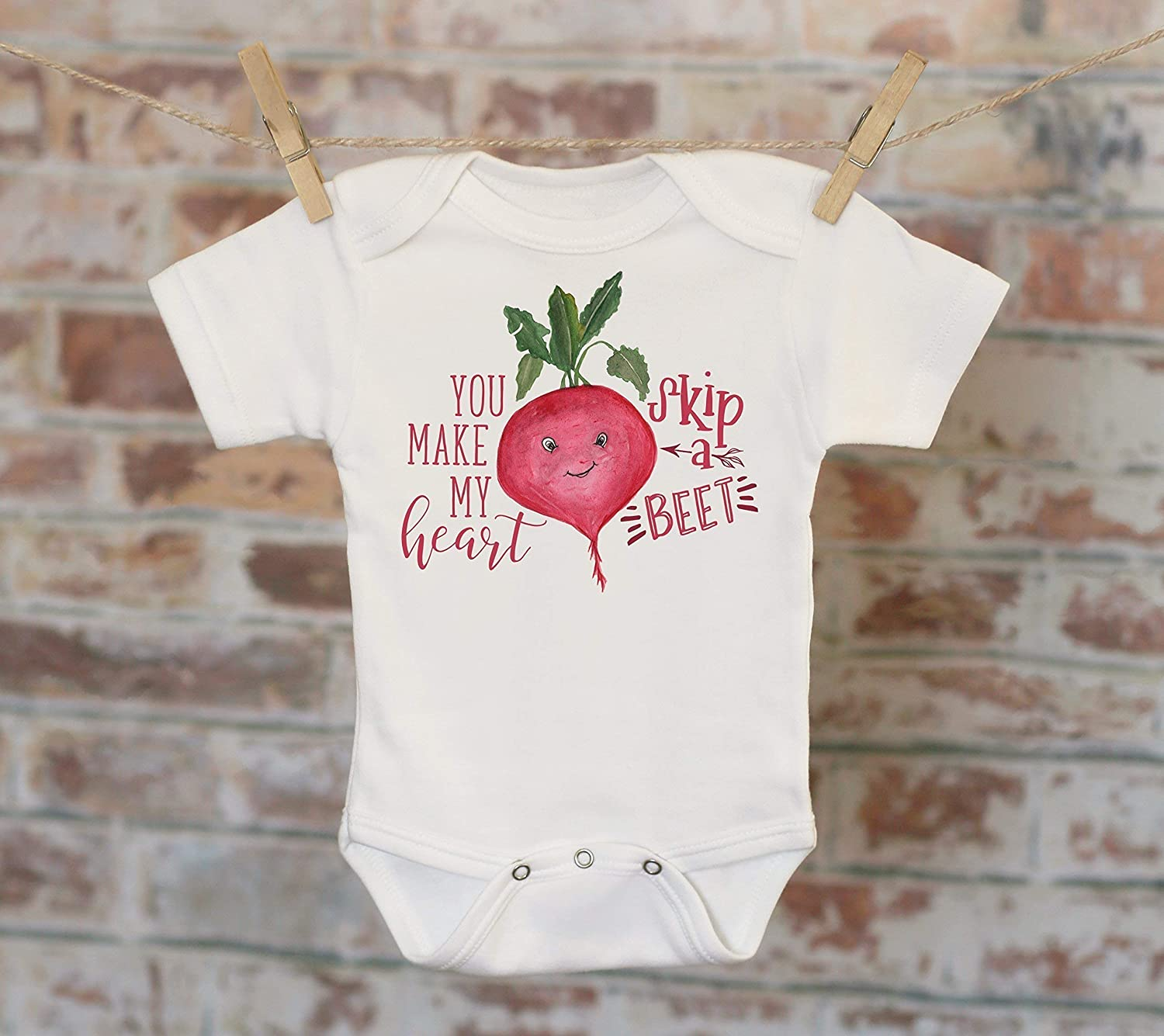 You Make My Heart Skip A Beet Onesie®, Food Onesie, Funny Onesie, Cute Baby Bodysuit, Cute Onesie, Boho Baby Onesie