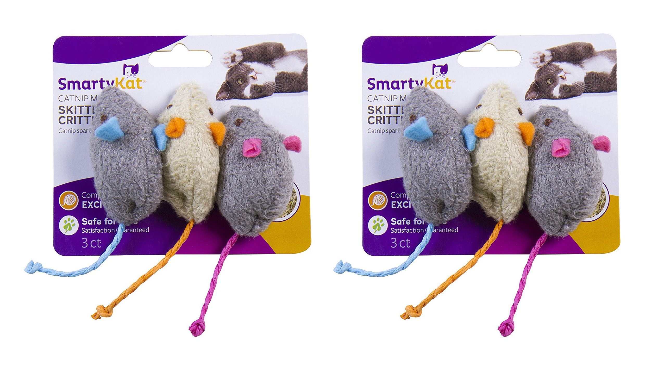 SmartyKat Skitter Critters Cat Toy Catnip Mice, 6-Pack