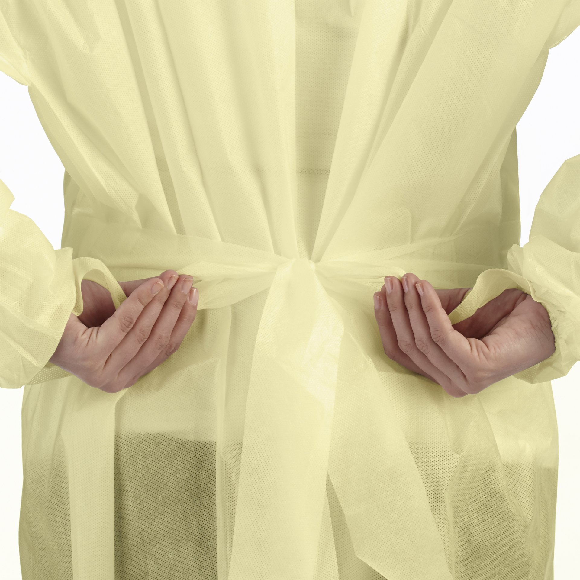 Disposable SMS Polypropylene Isolation Gown, with Elastic cuffs, Breathable, flexible, and fluid resistant. Professional Surgical gowns & Lab Coats. (10 Units, Regular) by AMD Ritmed® (Image #5)