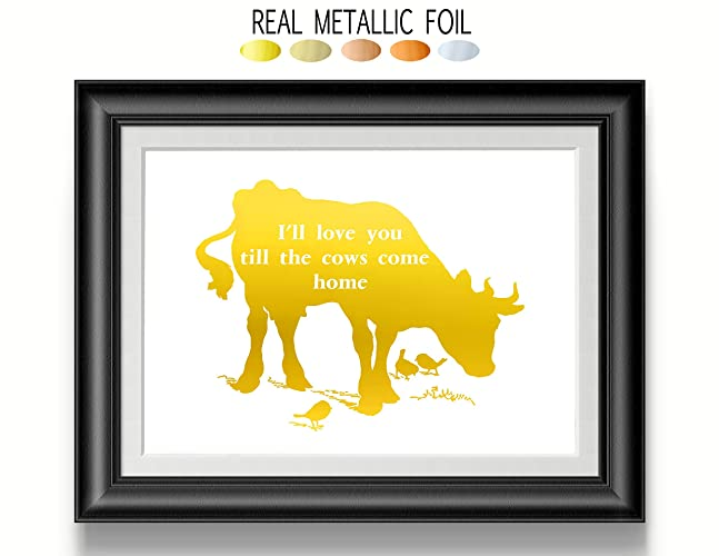 Amazon.com: Gold cow Wall Art, Gold Foil print, Cow Decor I\'ll love ...